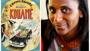 À gauche, couverture de «Commissaire Kouamé: un si joli jardin». À droite, portrait de Marguerite Abouet.