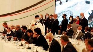 Les participants au Forum du dialogue politique libyen soutenu par l'ONU, le 9 novembre 2020 à Tunis