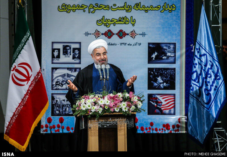 سخنرانی حسن روحانی در دانشگاه شهید بهشتی به مناسبت روز دانشجو