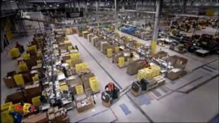 Centre logistique d'Amazon (Capture d'écran). Extrait du reportage sur Amazon diffusé le 13 février sur la chaîne ARD