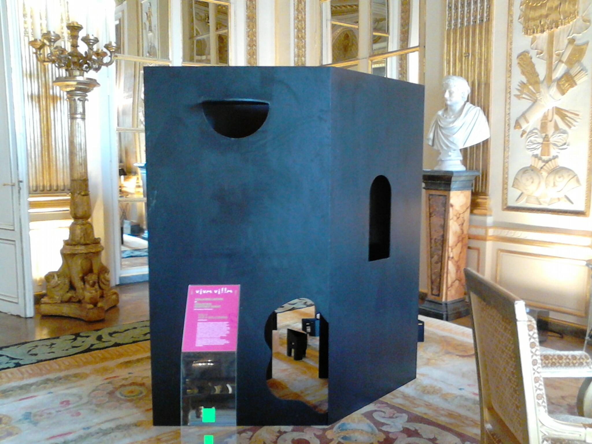 Folly for a Welcoming, scale models by artists-in-residence at the Villa Kujoyama, Benjamin Lafore and Sébastien Martinez Barat, on show at the Culture Ministry in Paris, September 2016 as part of 'Viva Villa'.