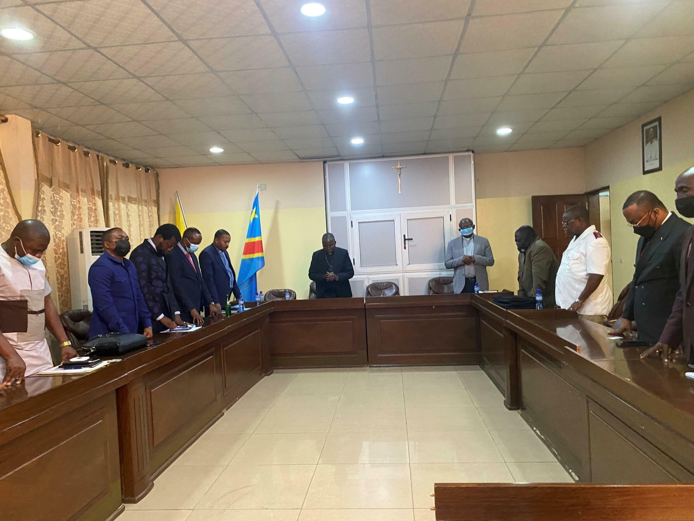 Réunion des chefs des huit confessions religieuses qui doivent désigner le nouveau président de la Céni et un autre membre de la plénière, le vendredi 23 juillet 2021 à Kinshasa, en RDC.
