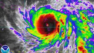 Le cyclone Maria au-dessus des Antilles, carte météo du 19 septembre, National Hurricane Center des Etats-Unis.