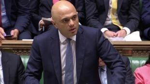 O ex-ministro das Finanças britânico, Sajid Javid, durante um debate parlamentar em Setembro de 2019 (capture de  ecrã).