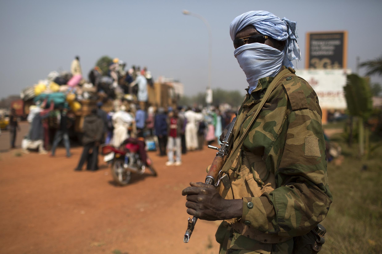 Un soldat tchadien de la Misca dans les rues de Bangui, le 16 janvier 2014.