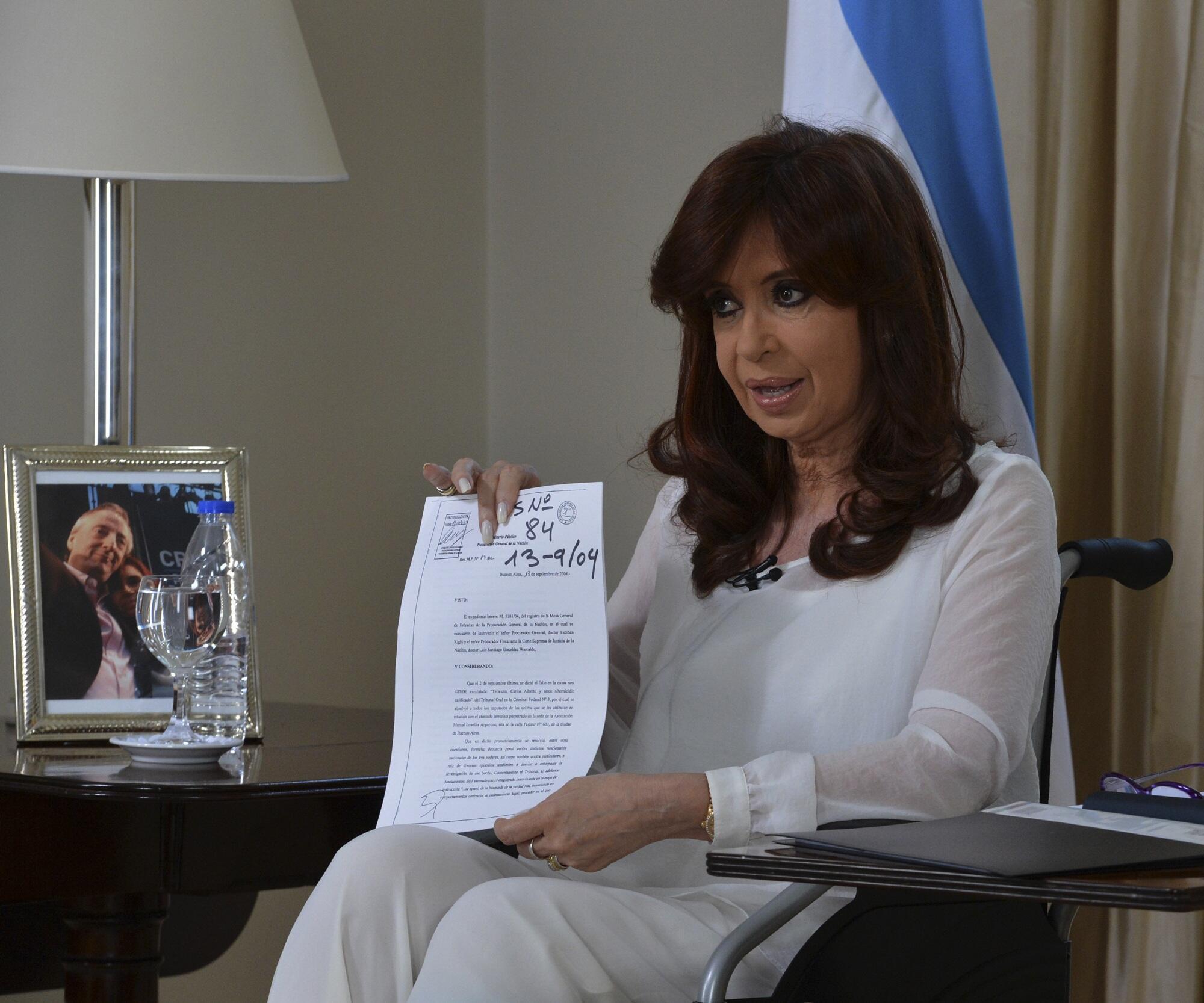 A presidente Cristina Kirchner evocou a morte de Nisman em pronunciamento na TV no dia 26 de janeiro passado.