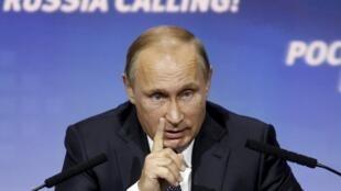 El presidente ruso, Vladimir Putin, criticó la falta de cooperación de Estados Unidos en Siria, el 13/10/2015 en Moscú.