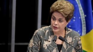 Dilma Rousseff durante o seu discurso hoje no Senado.