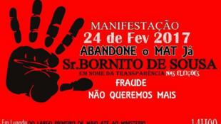 Convocatória da manifestação pedindo a demissão do ministro Bornito de Sousa