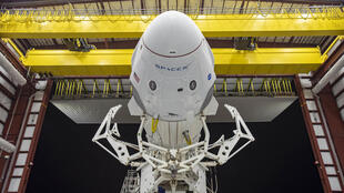 The Crew Dragon spacecraft and the SpaceX Falcon 9 rocket are pictured at Launch Complex 39A at Kennedy Space Center in Florida on May 21, 2020