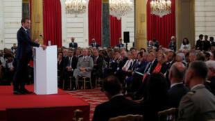 Le président français Emmanuel Macron, le 27 août 2018 lors de la conférence des ambassadeurs, à Paris.