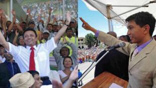 Le président déchu Marc Ravalomanana ( à gauche ) et le président de la transition, Andry Rajoelina.