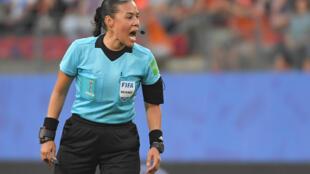 La brasileña Edina Alves el 25 de junio de 2019 durante la copa mundial femenina de fútbol en Rennes, Francia