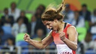 La Tunisienne Marwa Amri, médaillée de bronze en lutte libre aux JO 2016.