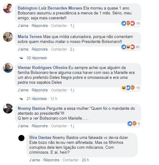 Comentários dos internautas da RFI em matéria sobre silêncio de Bolsonaro sobre o assassinato de Marielle.