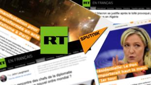 Ảnh minh họa. Logo của hai kênh truyền thông Nga Russia Today (RT) và Sputnik.