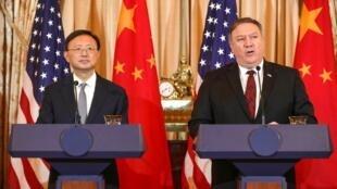 美國國務卿蓬佩奧與中國主管外交的楊潔篪在夏威夷會談。