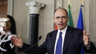 Enrico Letta, du Parti démocrate, a été chargé de former un nouveau gouvernement. Photo : 24 avril 2013 à Rome.