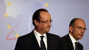 Le Premier ministre italien, Enrico Letta, et le président français, François Hollande, ont affiché leur proximité à Rome, le 20 novembre 2013.