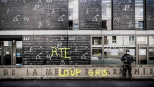 "Graffiti bearing the name of ultra-nationalist Turkish group The Grey Wolves (""loups gris"" in French) on an Armenian memorial centre near Lyon at the weekend. The government announced Wednesday the group would be disbanded."