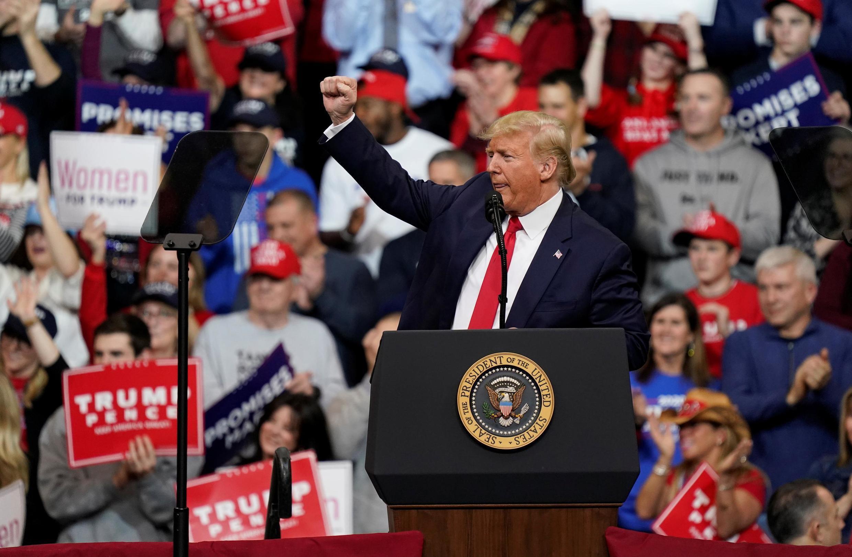 Tổng thống Mỹ Donald Trump trong cuộc mít tinh vận động tranh cử ở Manchester, New Hampshire, ngày 10/02/2020