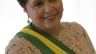 A presidente Dilma Rousseff durante a cerimônia de posse de seu segundo mandato, em Brasilia.