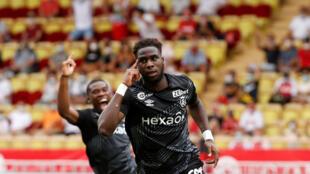 Boulaye Dia (Stade de Reims) après avoir marqué un but contre Monaco, le 23 août 2020.