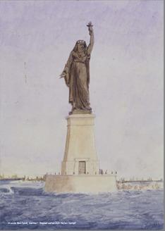 Proyecto de Bartholdi para un faro a la entrada del canal en Suez. El proyecto, que nunca se llevó a cabo, inspiró luego la Estatua de la Libertad.