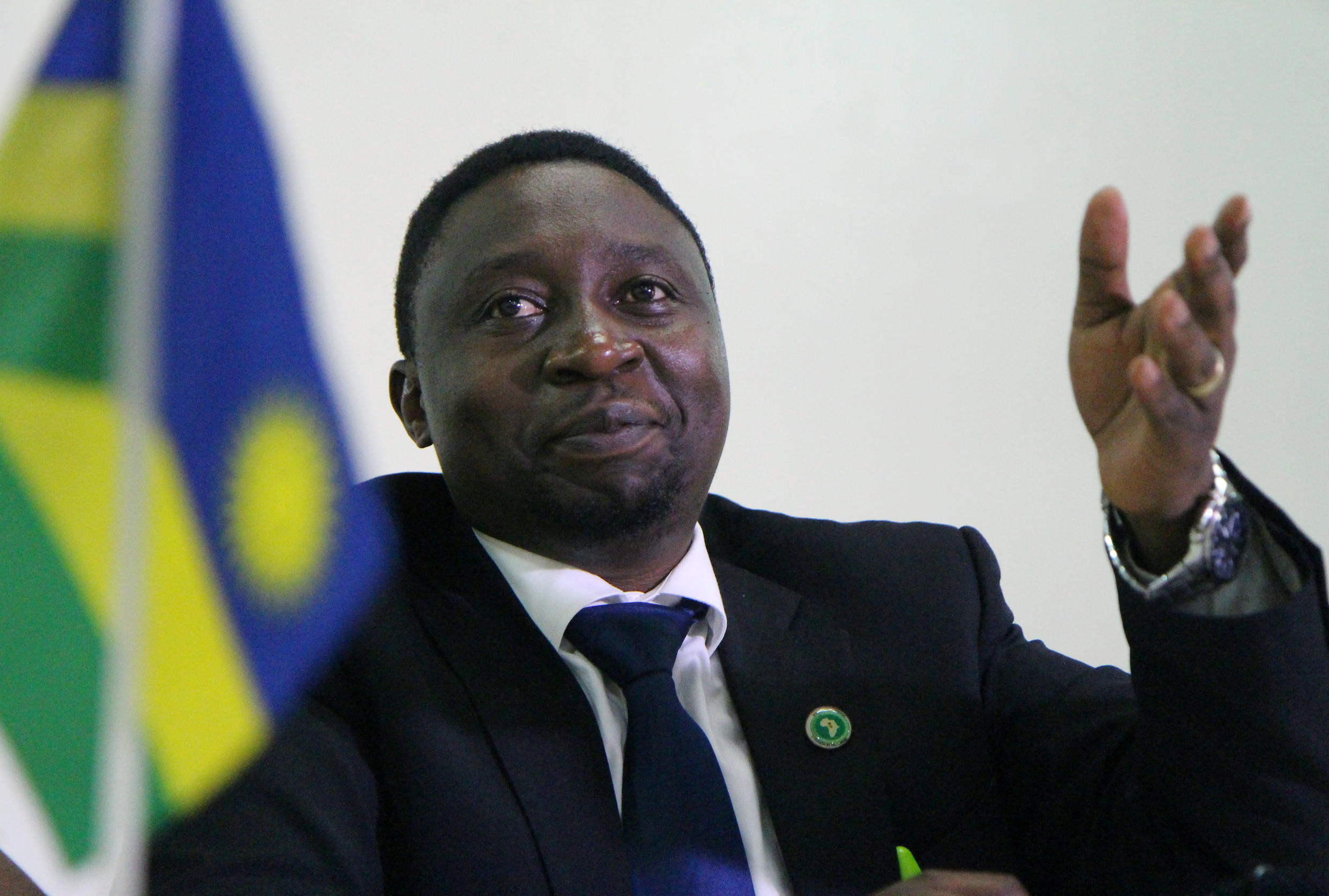 Frank Habineza speaks during a meeting of the Green Party in Kigali on 17 December 2016.