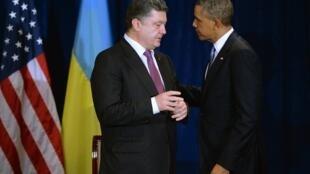 Rais mteule wa Ukraine, Petro Poroshenko akizungumza na rais wa Marekani, Barack Obama