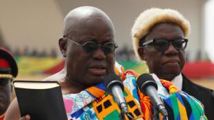 Rais wa Ghana Nana Akufo-Addo, katika hafla ya kuapishwa kwake katika mji wa Accra, Januari 7, 2017.