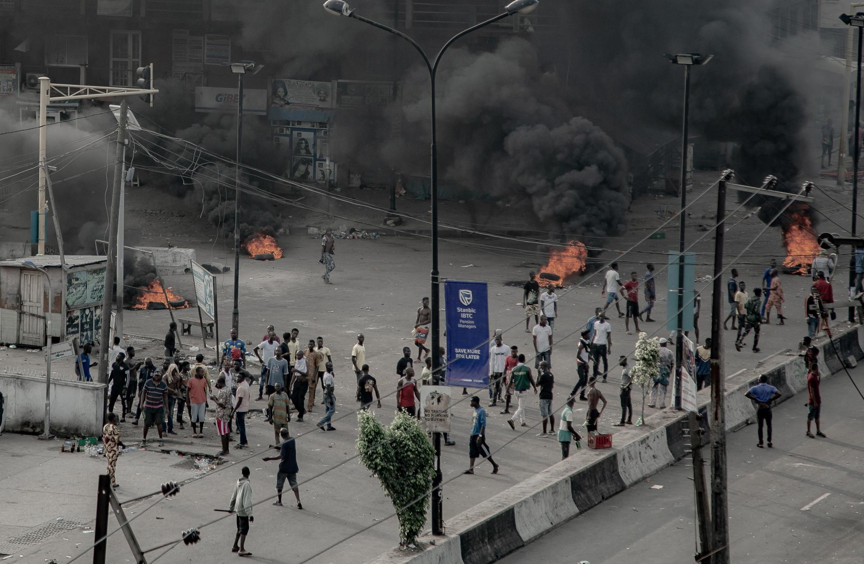 Nigeria, Lagos le 21 octobre 2020: les manifestants occupant la rue (illustration).