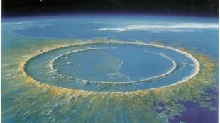Recreación artística del cráter Chicxulub después del impacto de un asteroide gigantesco.