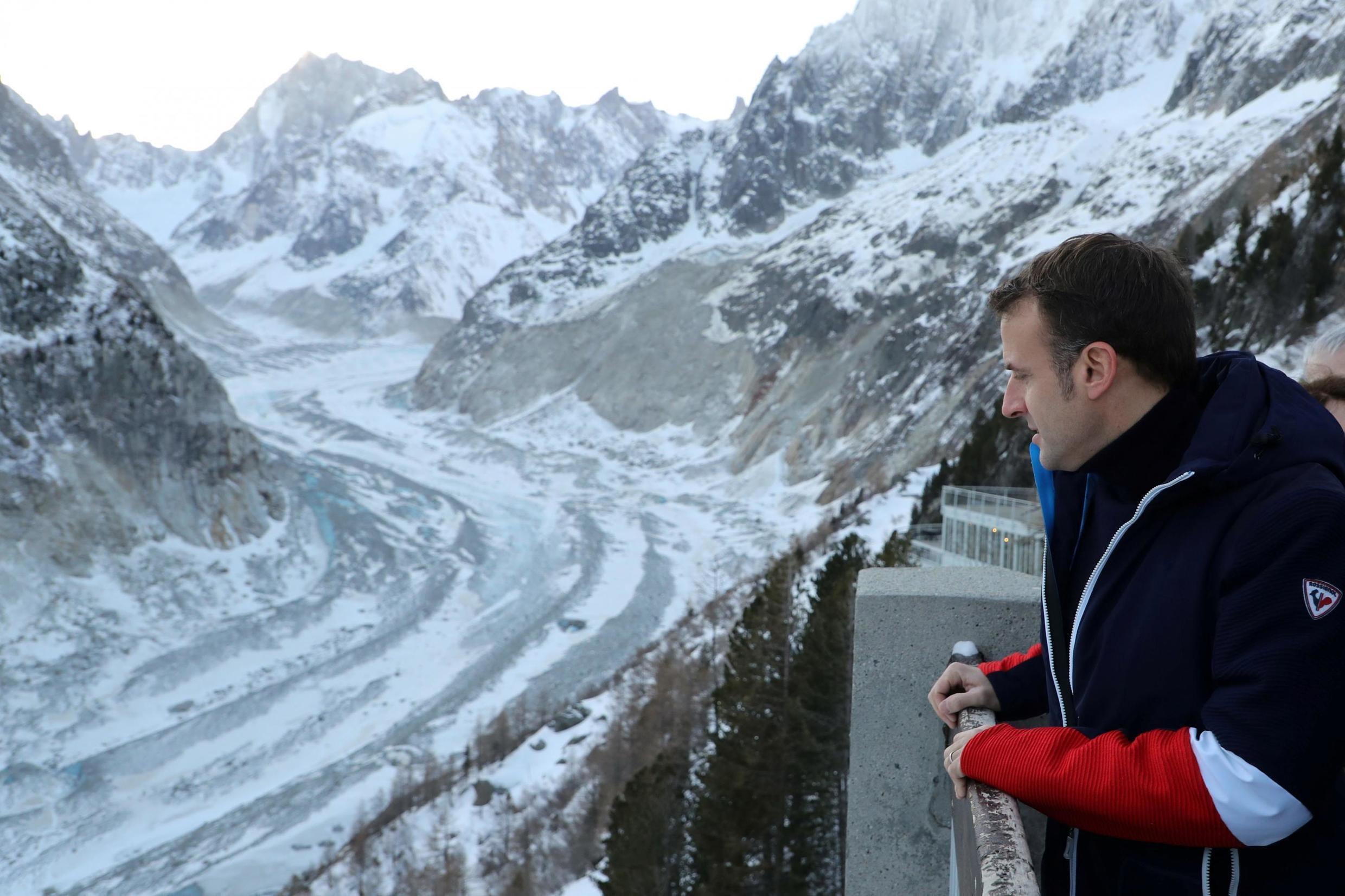 """Macron announced new protective measures for the """"Mer de Glace"""" (Sea of Ice) - France's largest glacier, which has shrunk dramatically in recent years - during a visit in February, 2020."""