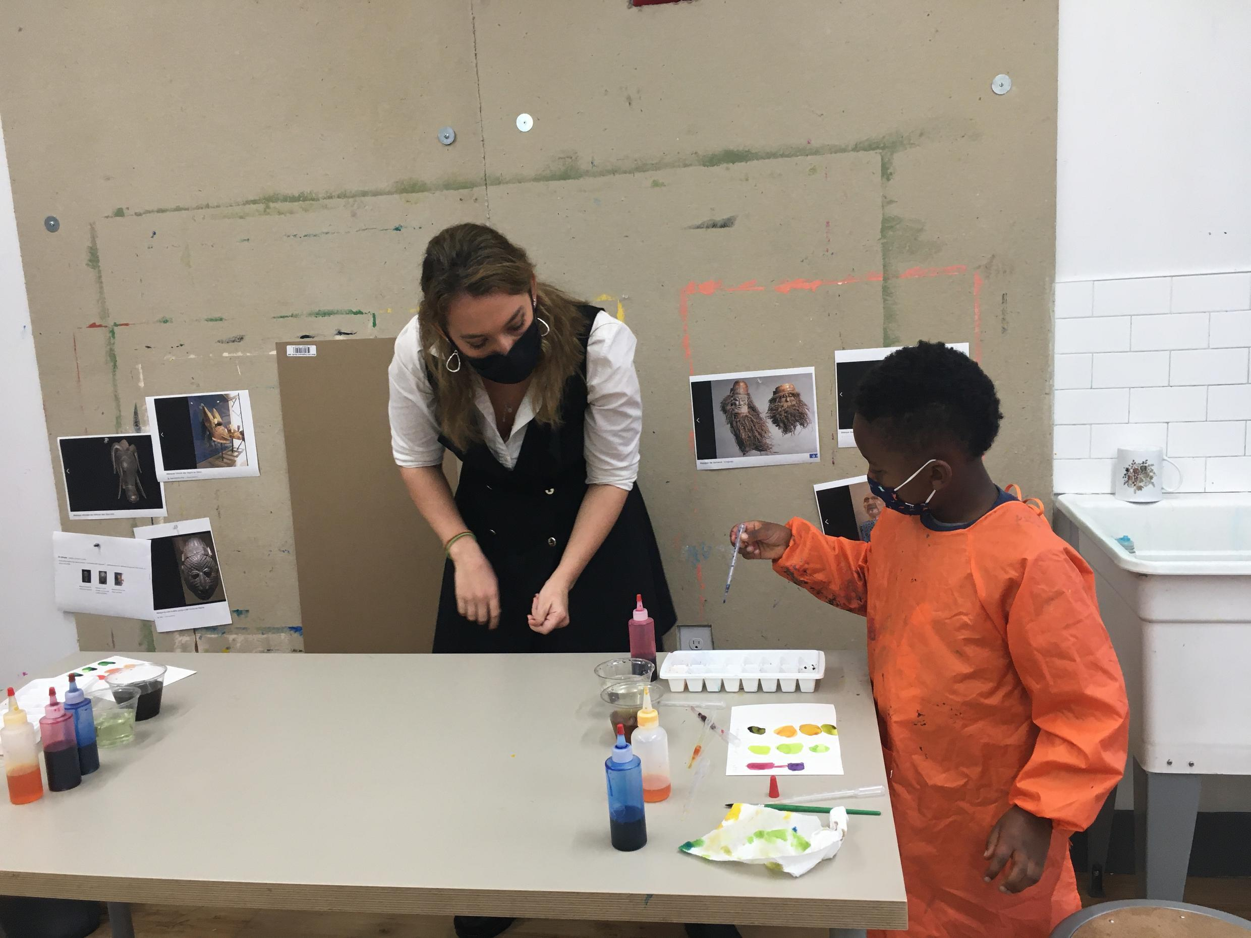 Students at the Science Language and Arts International school in Brooklyn learn colour theory from the age of four, 27 October 2020.