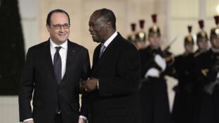 Le président français François Hollande et son homologue ivoirien Alassane Ouattara, à l'Elysée, le 4 février 2016.