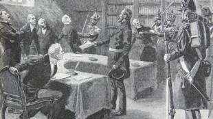 Louis Napoleon Bonaparte (katikati) Mei 5, 1851, siku tatu baada ya mapinduzi yake.