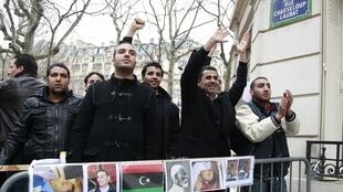 Demonstrators outside the Paris embassy on Friday