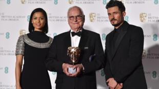 Le scénariste (à l'origine du scénario de «Call Me By Your Name», au centre) James Ivory, accompagné des acteurs anglais Gugu Mbatha-Raw et Orlando Bloom.