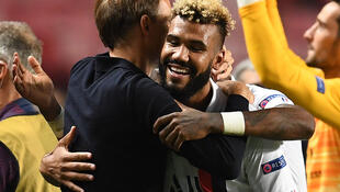 Paris Saint-Germain coach Thomas Tuchel (left) hugs Eric Choupo-Moting who scored PSG's winner against Atalanta during stoppage time of their Champions League quarter-final tie.