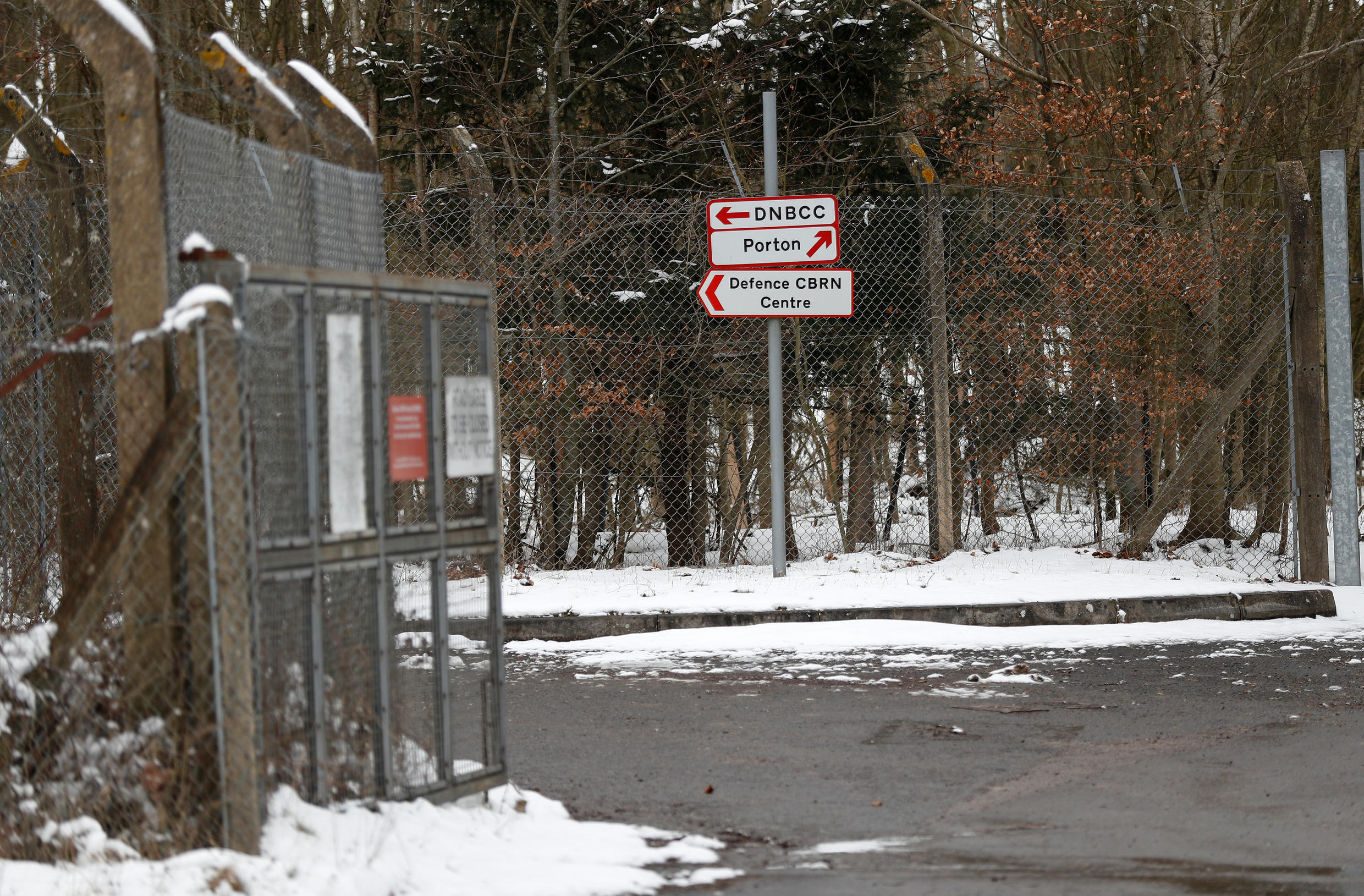 Signs prohibiting access are seen near to the Porton Down Defence Science and Technology Laboratory, near Salisbury, Britain, March 19, 2018.
