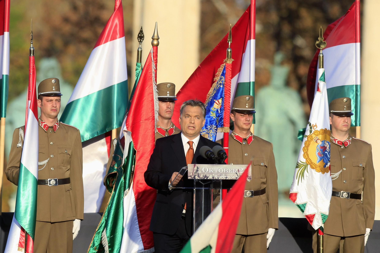 Thủ tướng Hungary Viktor Orban đọc diễn văn trong lễ kỷ niệm 57 năm cuộc Cách mạng dân chủ, Budapest, 23/10/2013
