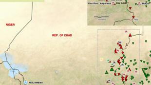 Carte des camps de réfugiés au Tchad.