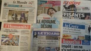 Primeiras páginas jornais franceses 18/09/2014
