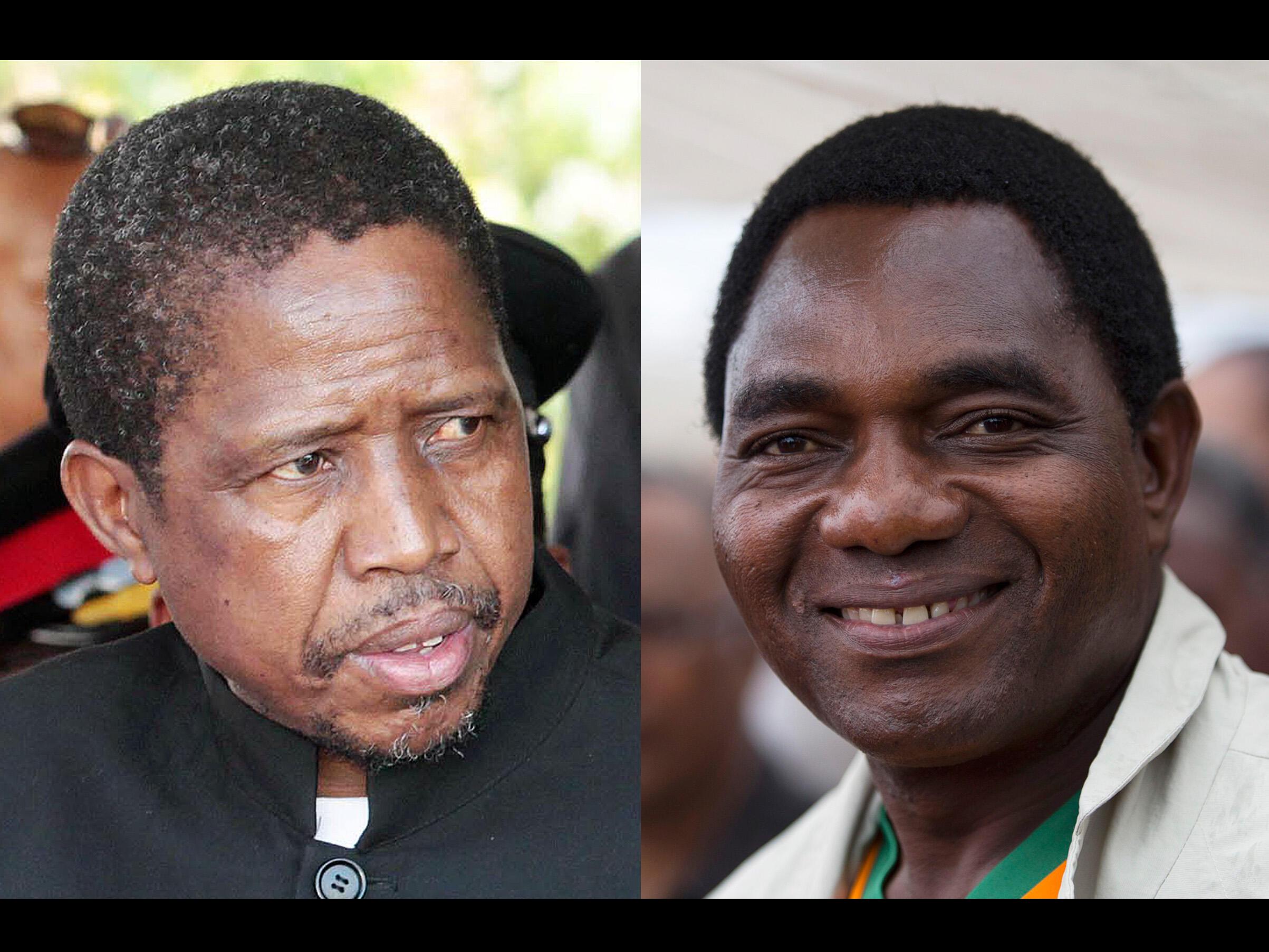 Presidente Edgar Lungu (à esquerda) e líder da oposição Hakainde Hichilema (à direita).