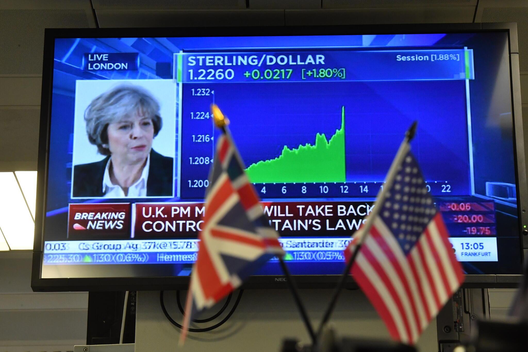 La livre est remontée face au dollar et à l'euro, durant le discours de Theresa May, ce mardi 17 janvier 2017.