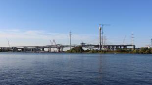 Le pont Samuel-de-Champlain en construction, le 31 aoît 2018.