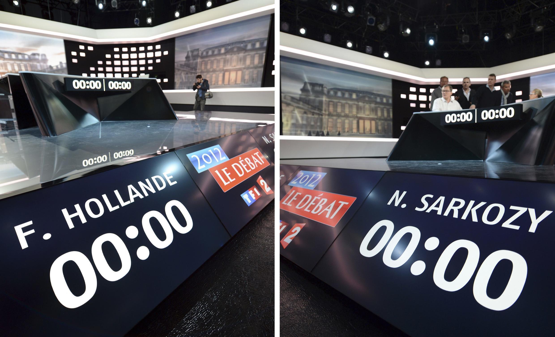 Подготовка к дебатам между Николя Саркози и Франсуа Олландом в телестудии Плен Сен-Дени под Парижем