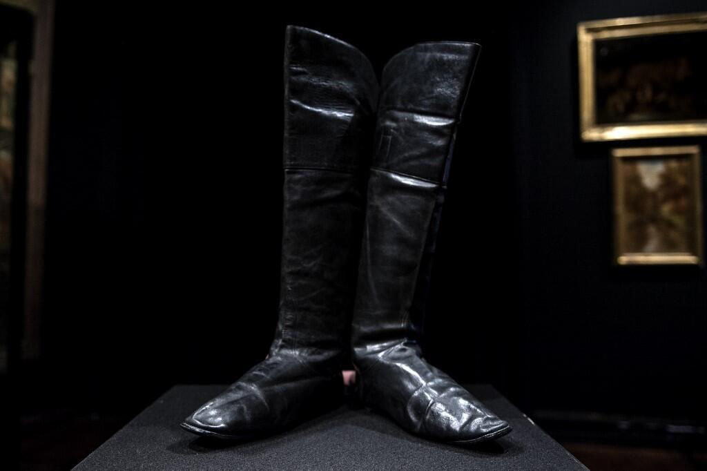A pair of Napoleon I's riding boots displayed at Drouot auction house in Paris ahead of their sale in November