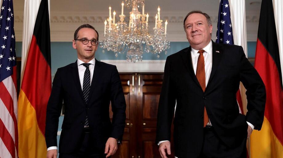 德國外長馬斯與美國國務卿蓬佩奧資料圖片